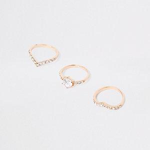 Gold tone diamante ring multipack