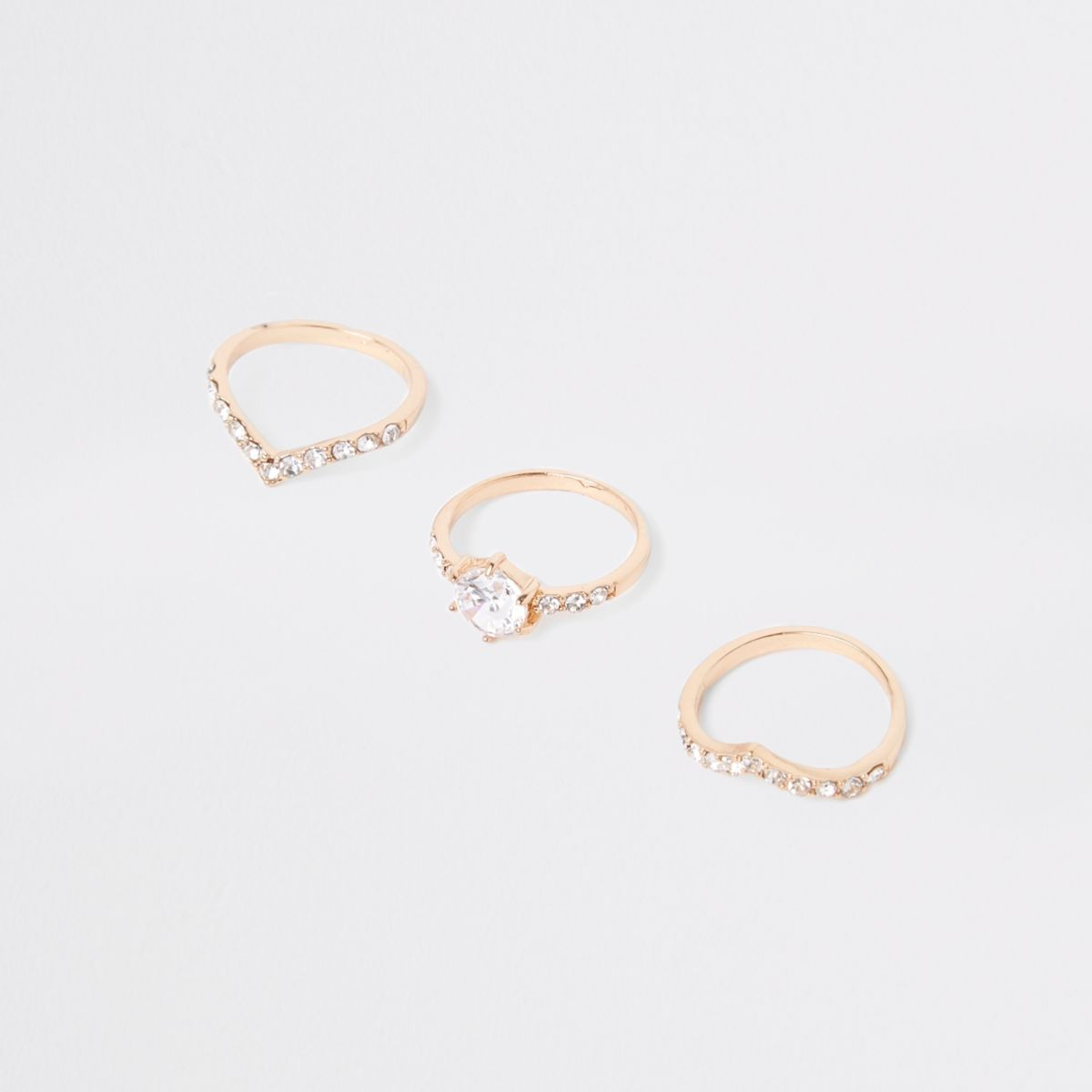 Gold tone rhinestone ring multipack