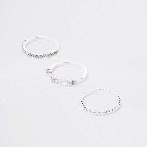 Silver tone rhinestone ring pack
