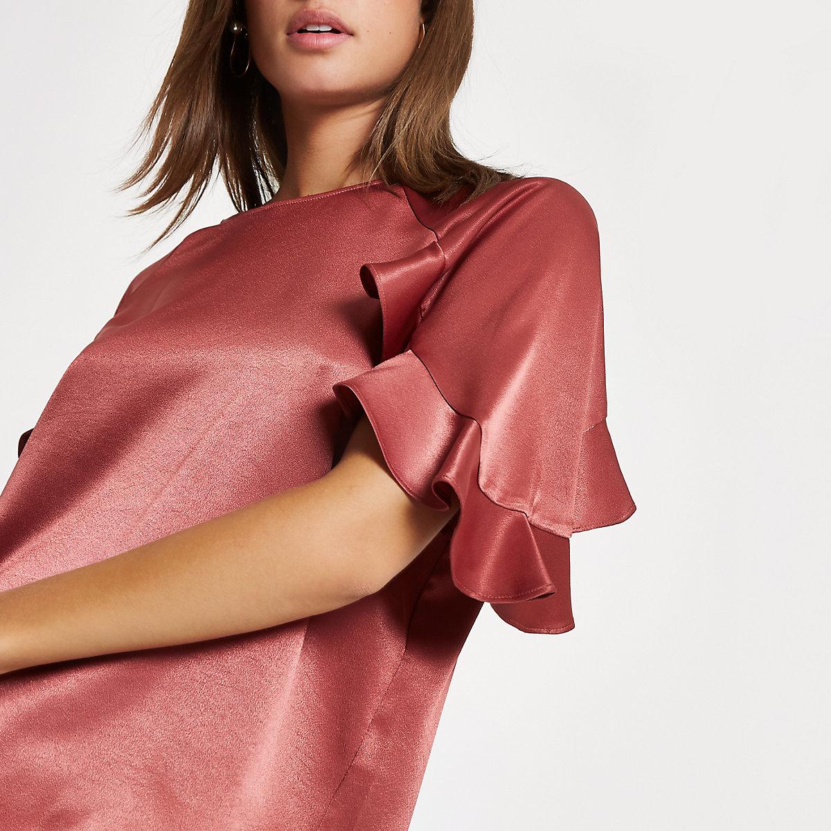 Copper chiffon frill sleeve top