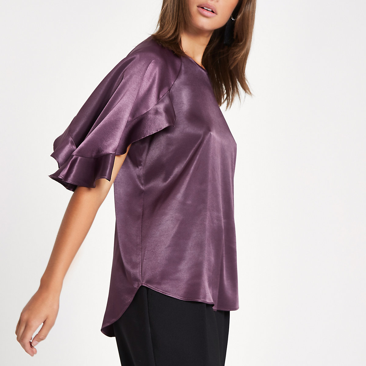 Purple chiffon frill sleeve top