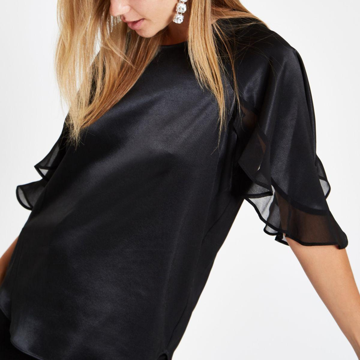Black chiffon frill sleeve top
