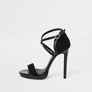 Black wide fit barely there platform sandals