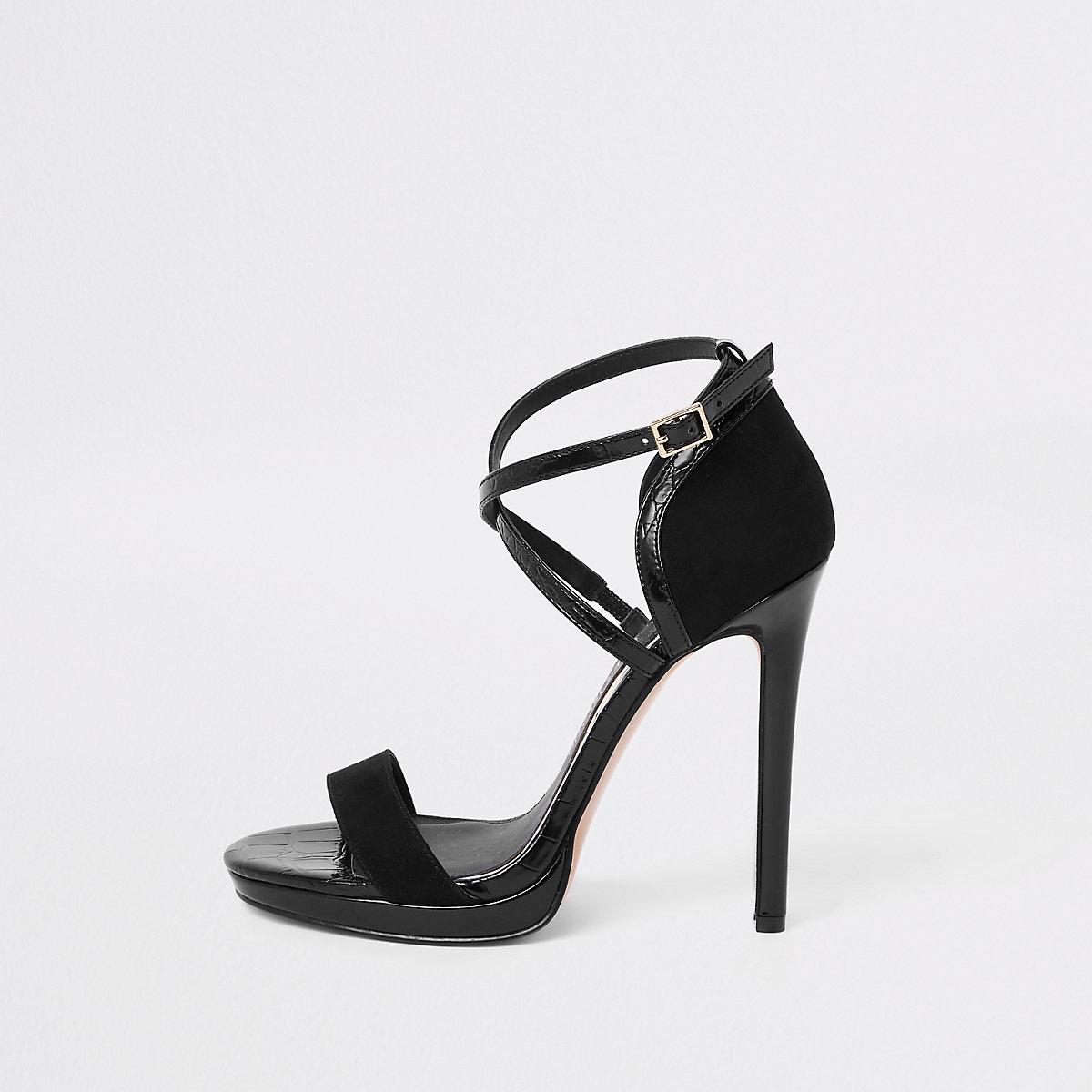 Black wide fit barely there platform sandals