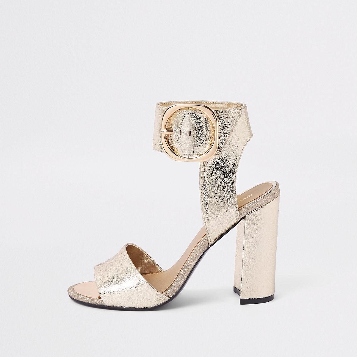 Gold metallic wide fit block heel sandals
