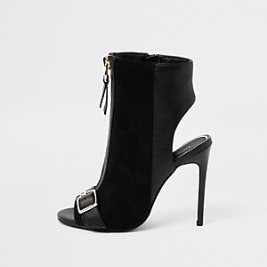 Black wide fit zip front buckle shoe boots