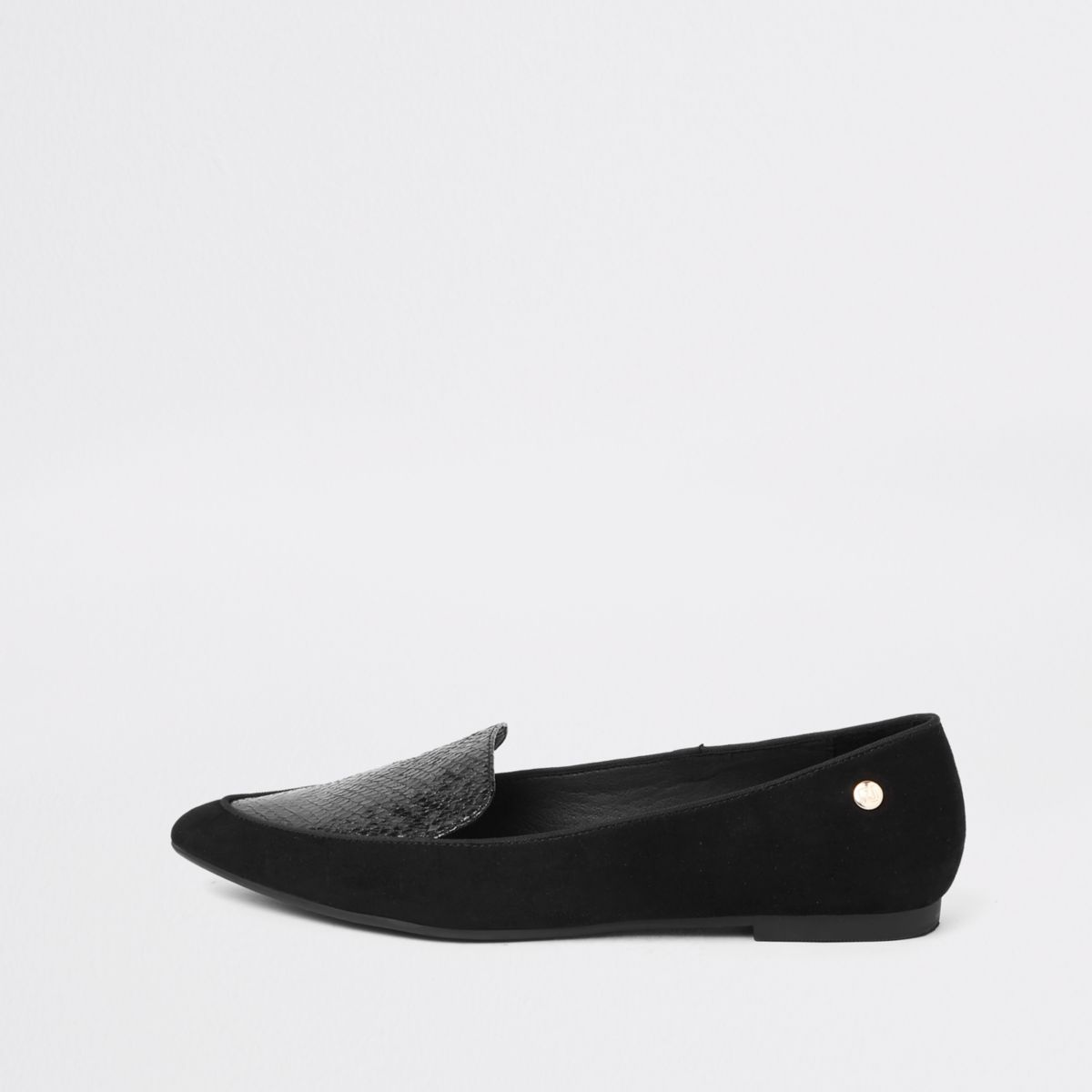 Black pointed toe wide fit loafers