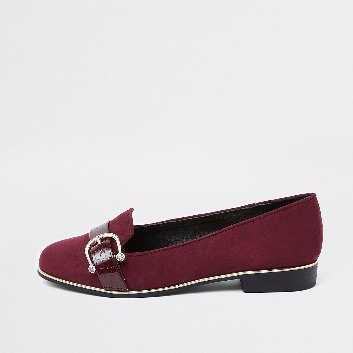 Burgundy wide fit rhinestone buckle loafers