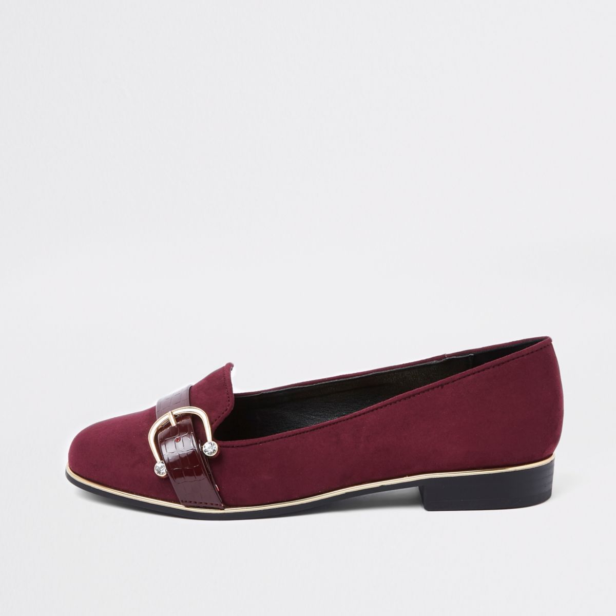 Burgundy wide fit rhinestone buckle loafers
