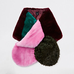 Pink faux fur colour block scarf