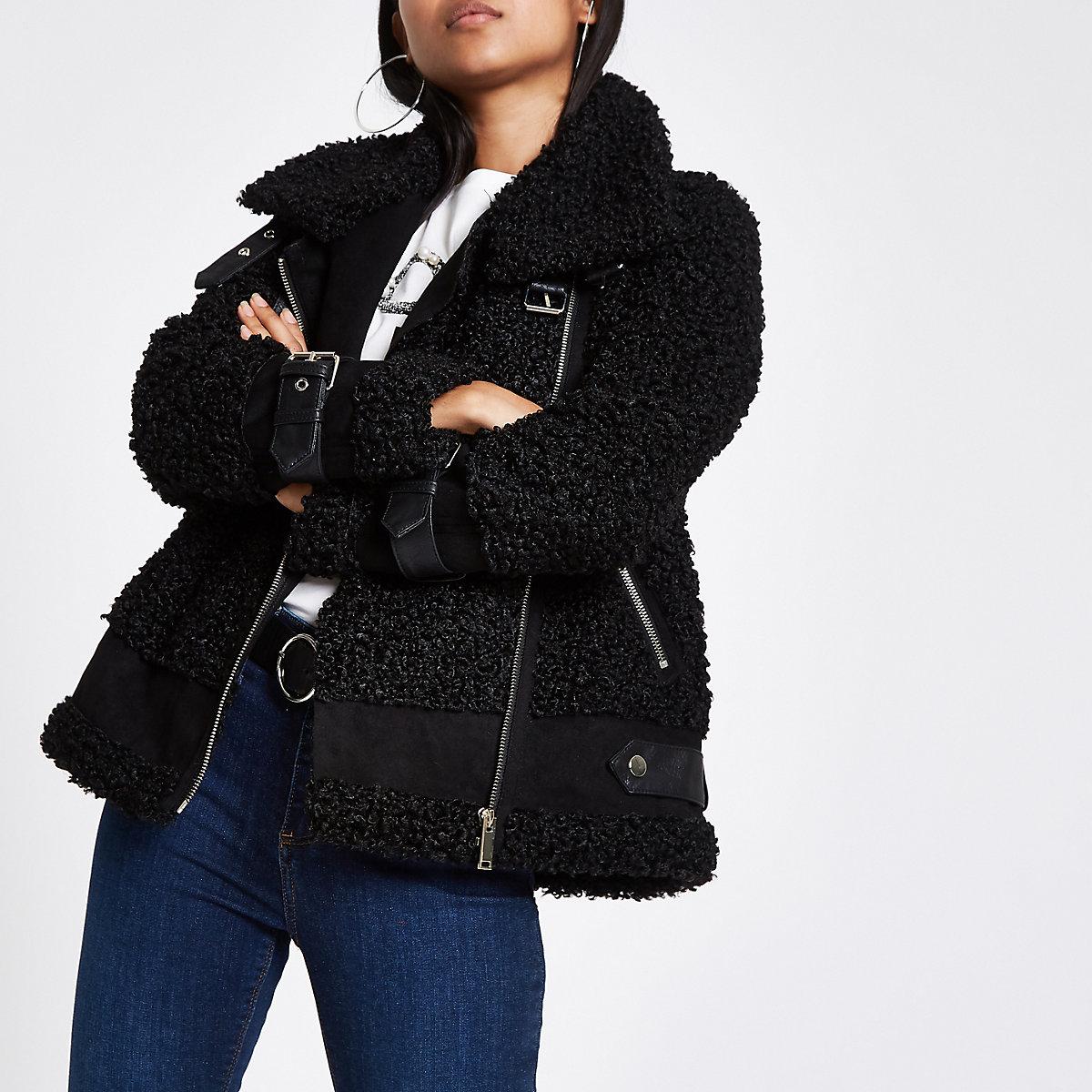Petite black fleece aviator jacket