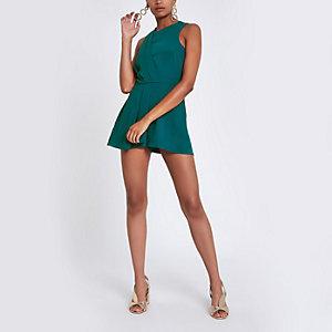 Combinaison jupe-short vert et bleu sarcelle à nœud