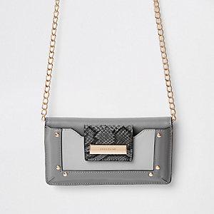 Dark grey purse cross body bag