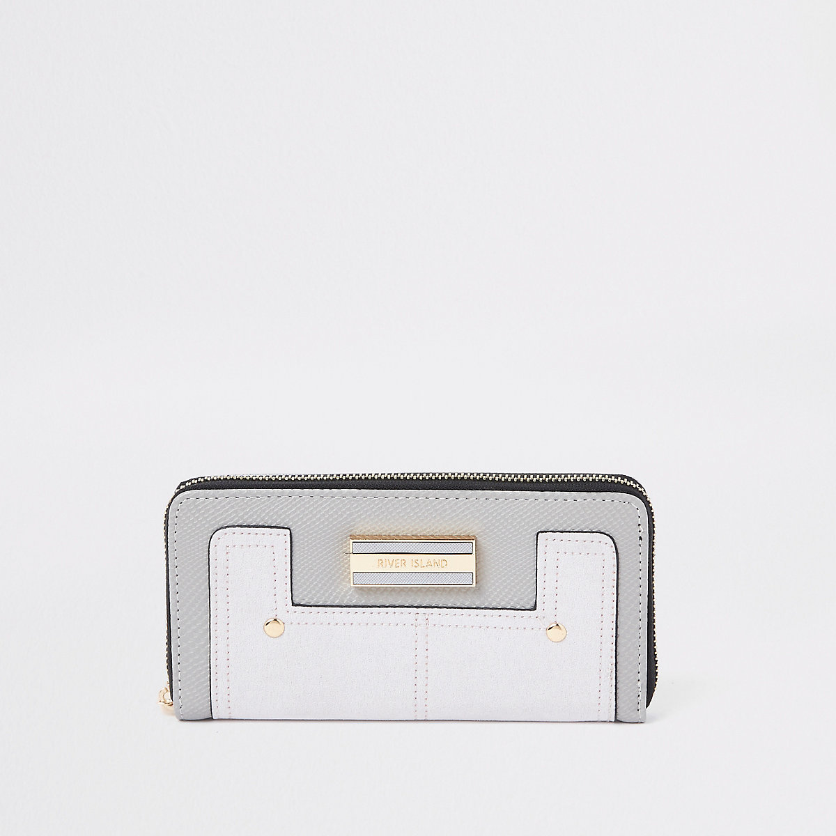 Light grey zip around mixed panel purse