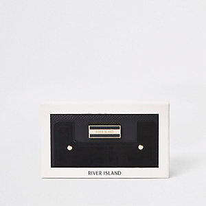 Porte-monnaie noir rigide zippé sur trois côtés à matières mixtes