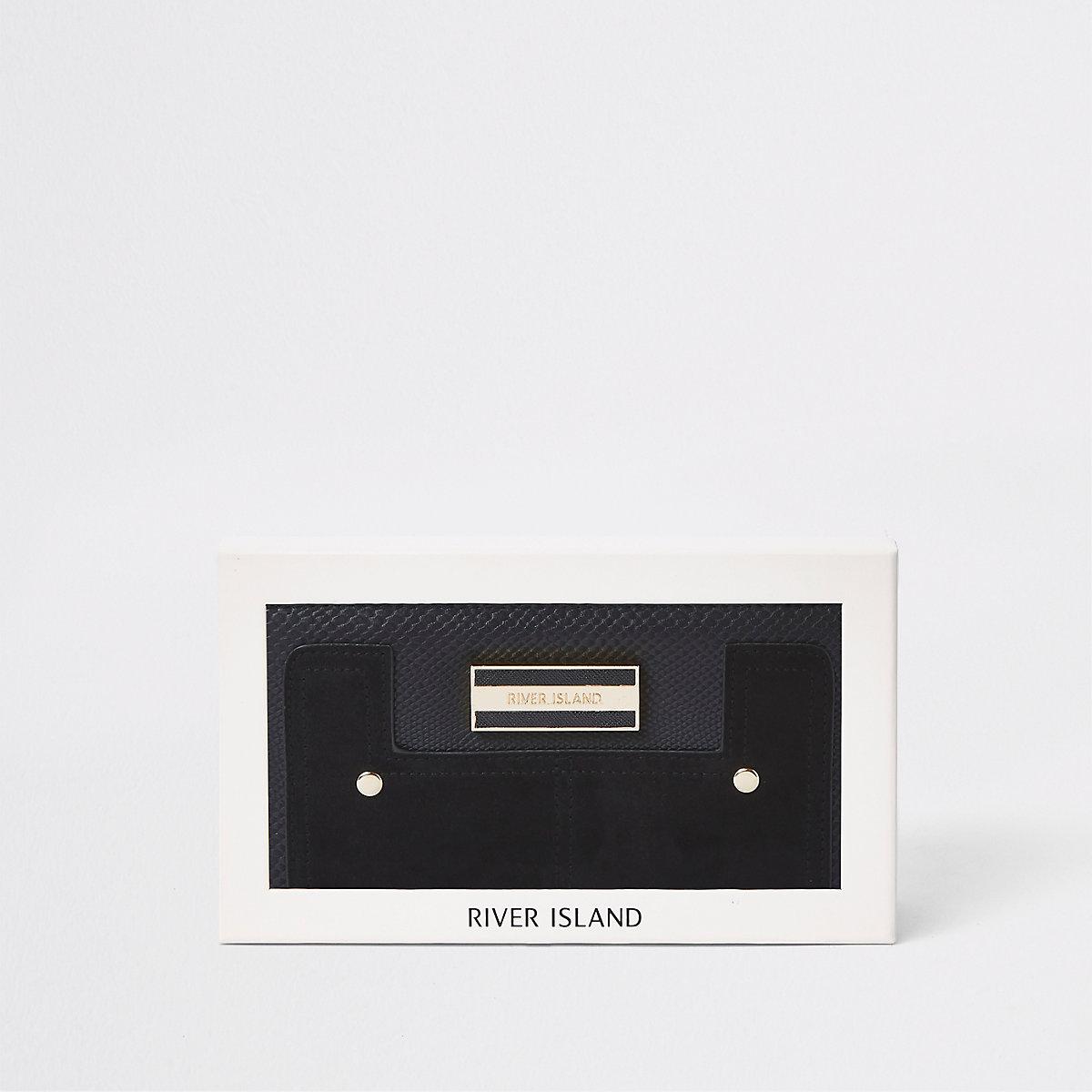 Black gift boxed zip around mixed panel purse