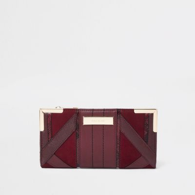 Burgundy Cutabout Panel Foldout Purse by River Island