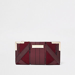 Burgundy cutabout panel foldout purse