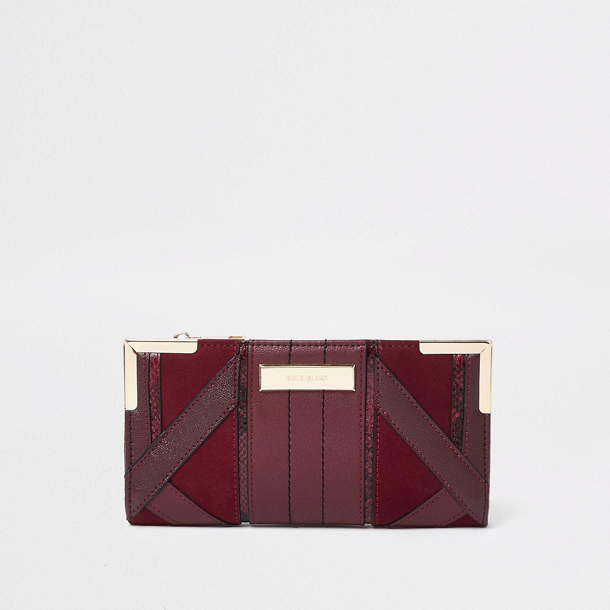 Burgundy cutabout panel foldout purse
