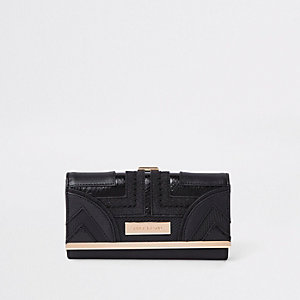 Black Geo Panel Cutabout Cliptop Purse