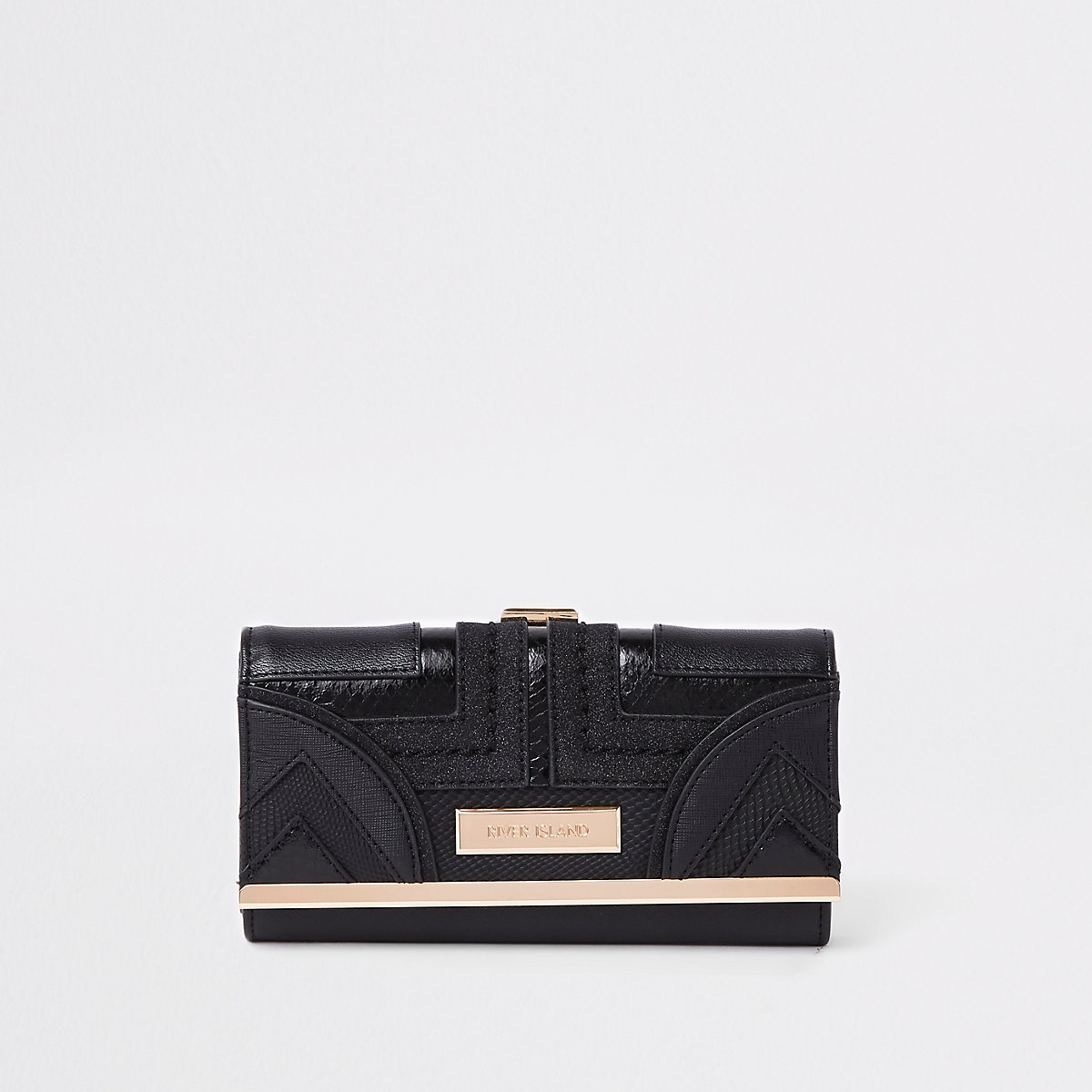 Black geo panel cutabout cliptop purse