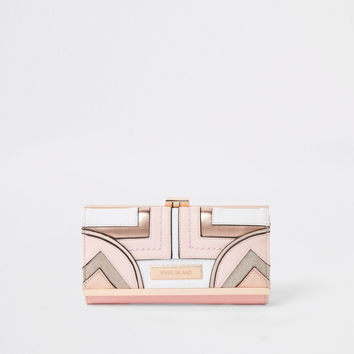 Light pink geo panel cutabout cliptop purse