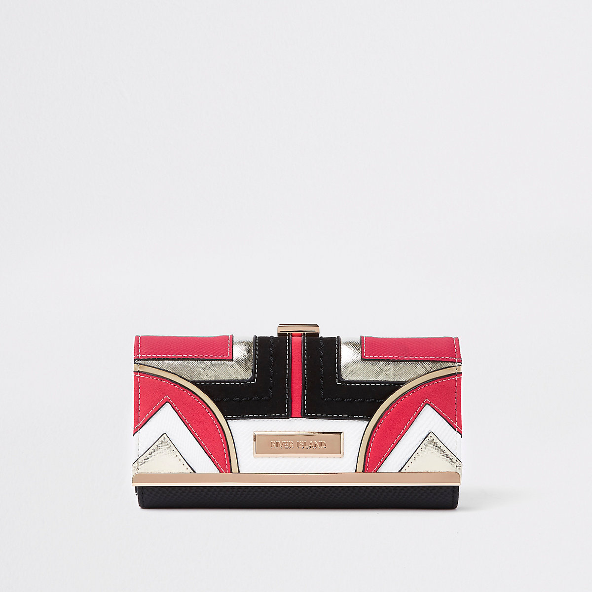 Coral geo panel cutabout cliptop purse