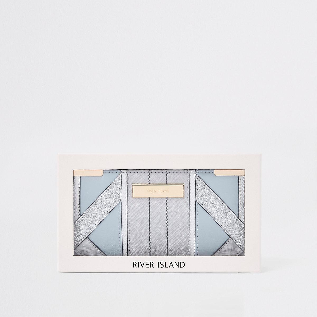 Light blue gift boxed slim foldout purse