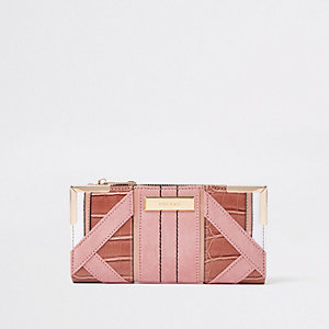 Light Pink Textured Panel Slim Foldout Purse