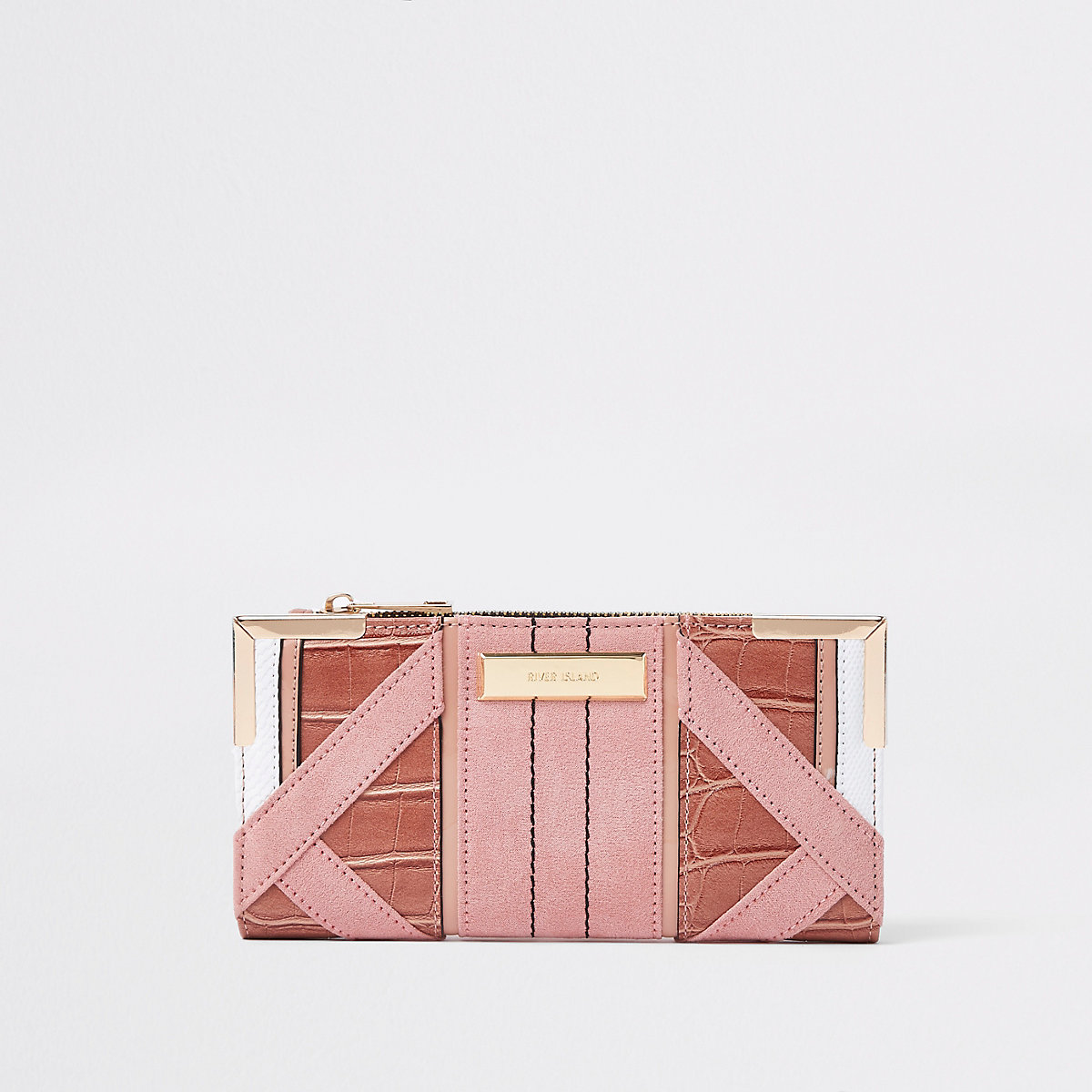 Light pink textured panel slim foldout purse
