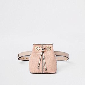 Light pink croc duffle belt bag