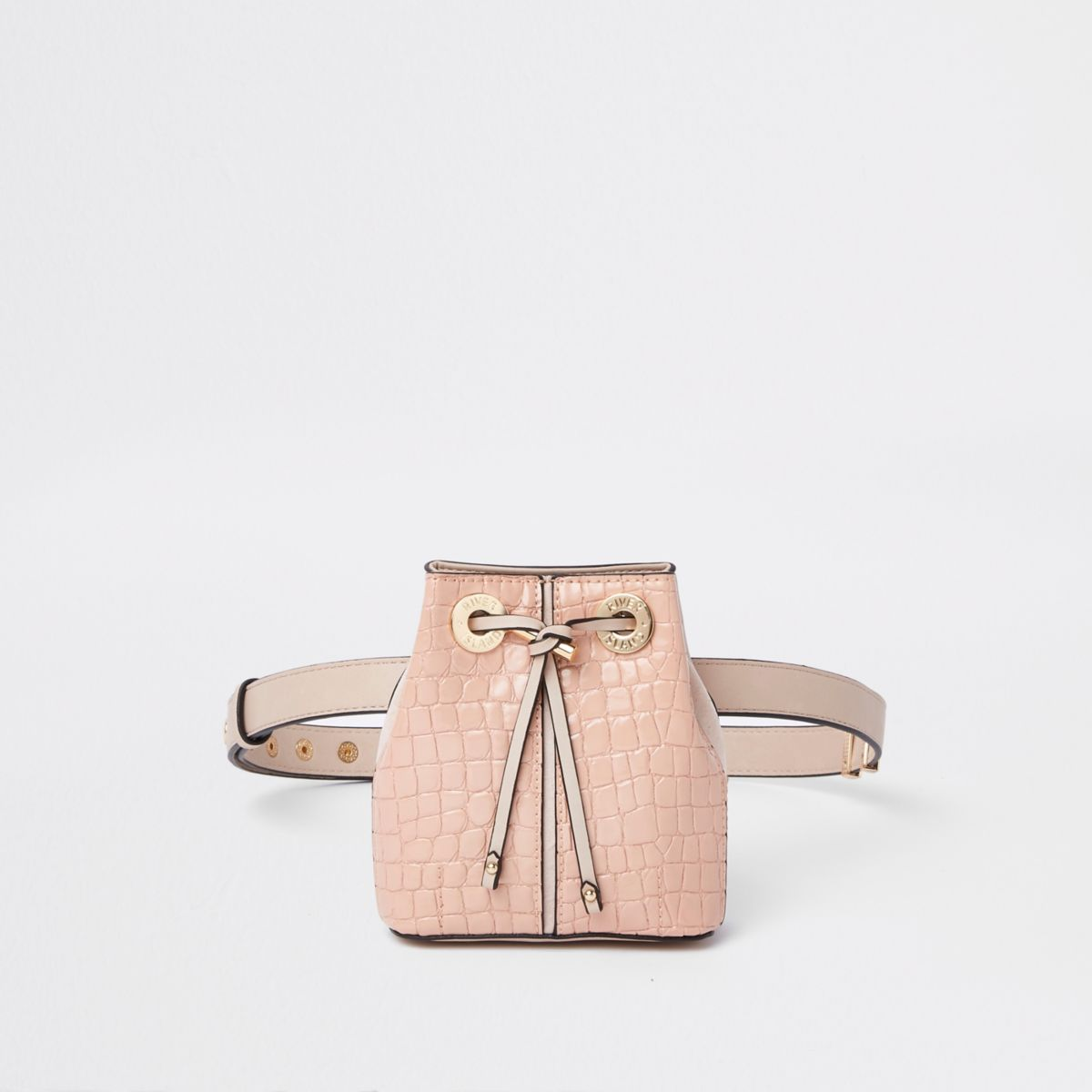 Light pink croc duffle belt bag