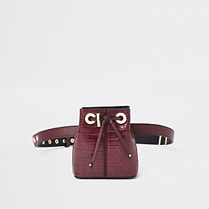 Dark red croc duffle belt bag
