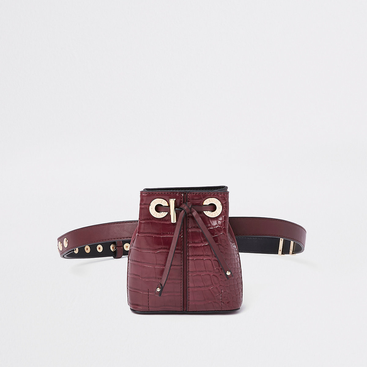 Dark red croc duffle belt bag