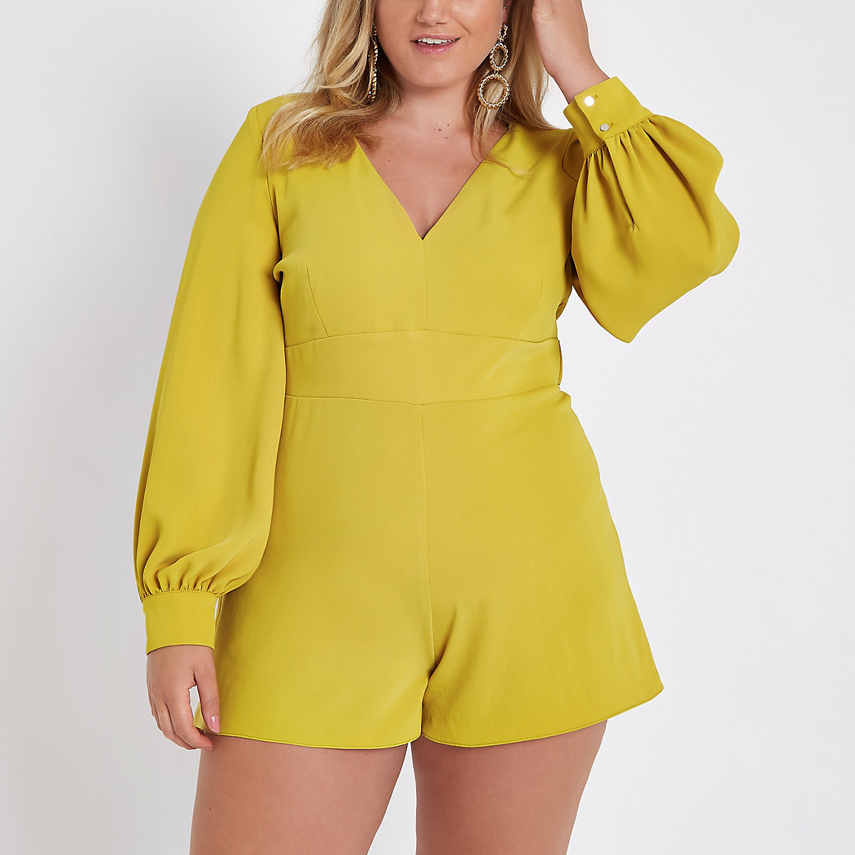 Plus dark yellow tie waist romper