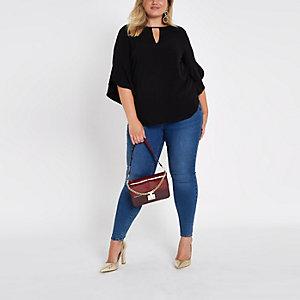 Plus black frill sleeve blouse