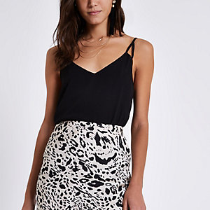 Black crepe split strap cami top