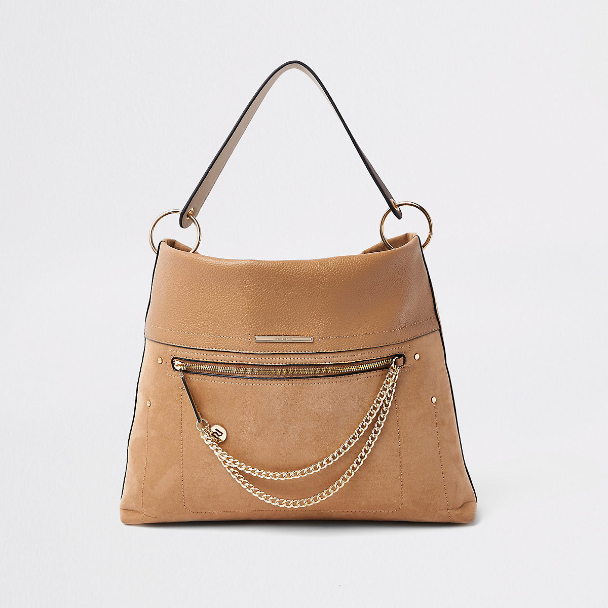 Beige zip front chain front slouch bag