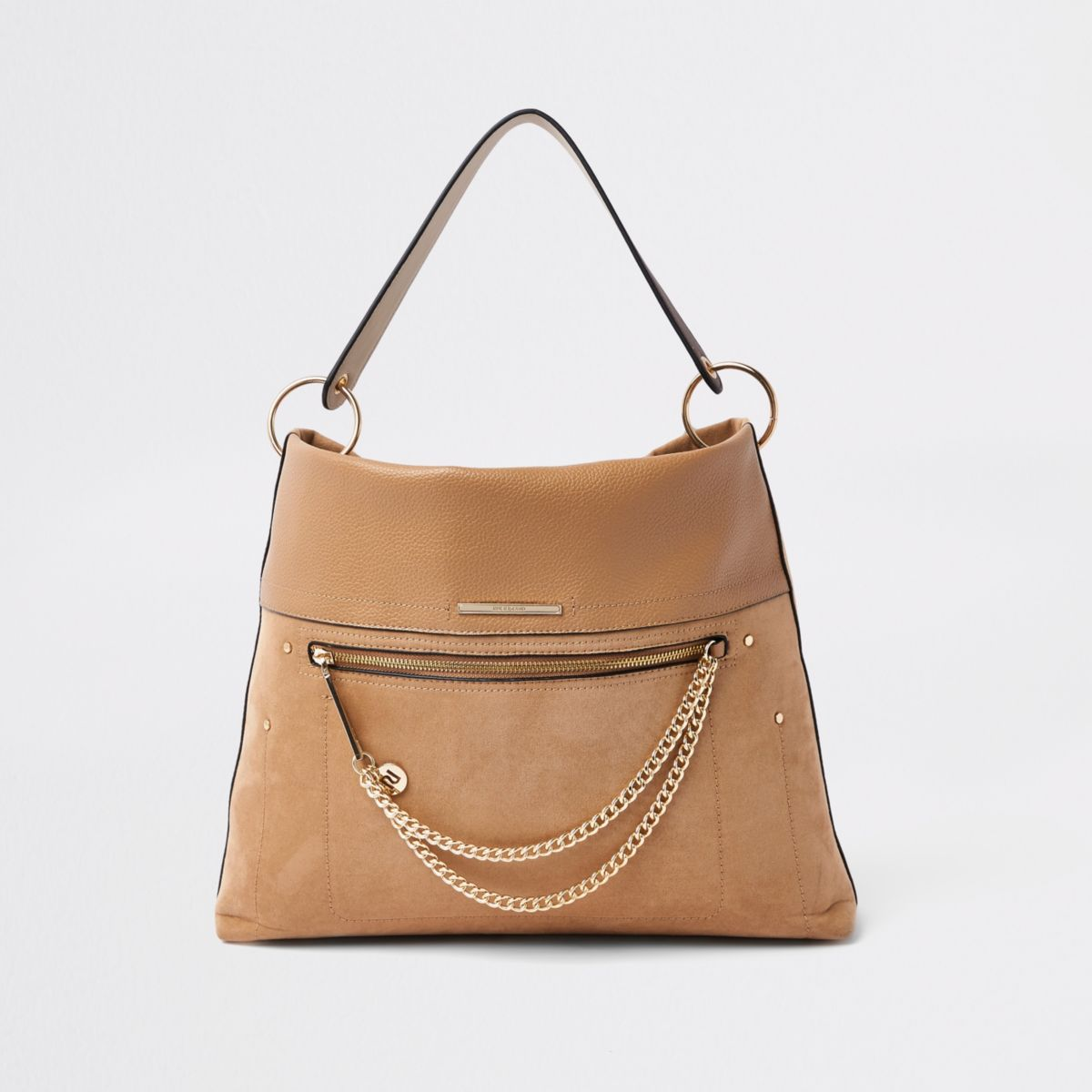 Beige zip front chain front slouch bag