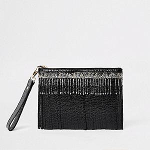 Schwarze Clutch aus Leder mit Perlenverzierung