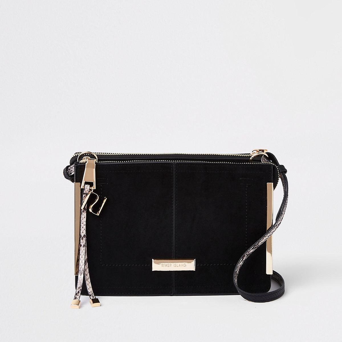 Black structured cross body bag