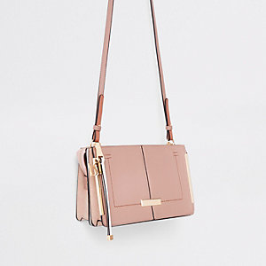 Pink structured cross body bag