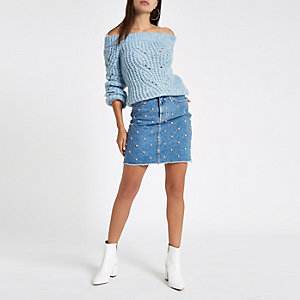 Mid blue stud embellished denim mini skirt