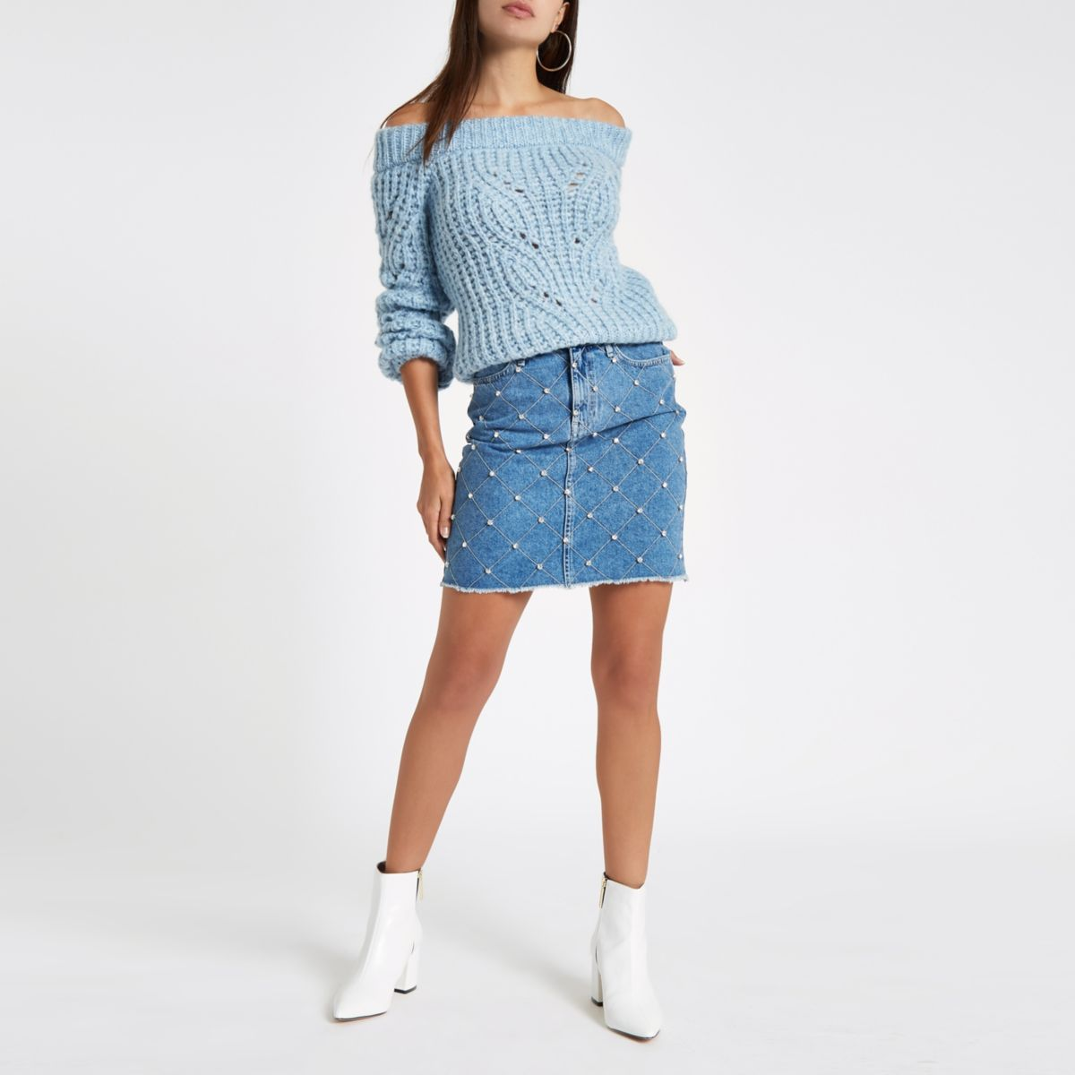 Mid blue stud embellished denim mini skirt