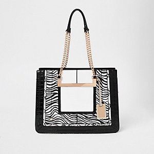 White zebra print chain handle tote bag