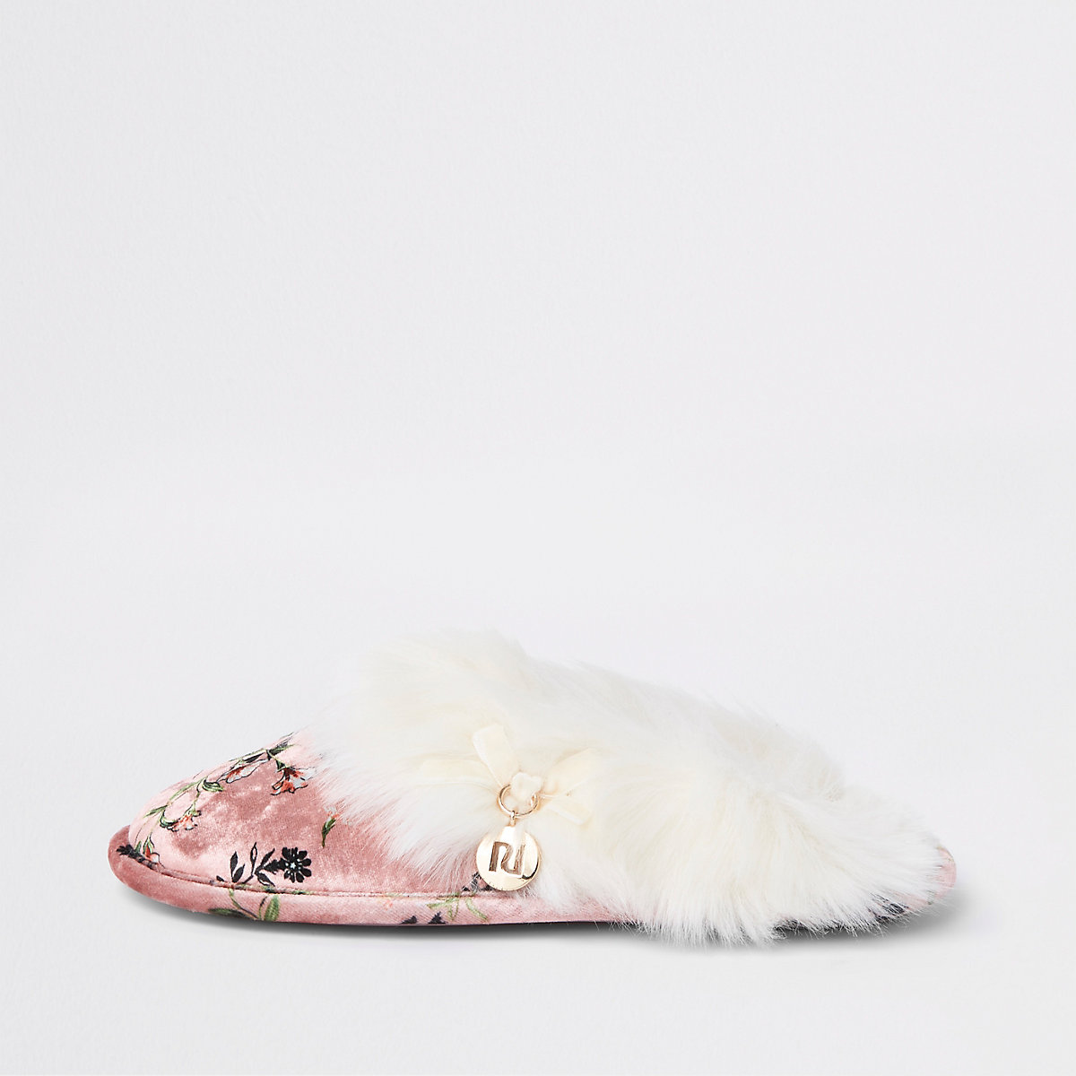 Pink floral print faux fur trim slippers