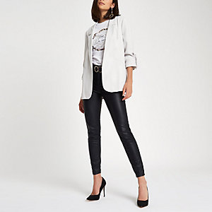 Light grey bow cuff blazer