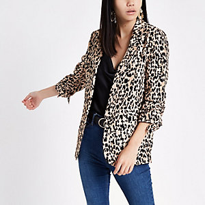 Brown leopard print ruched sleeve blazer