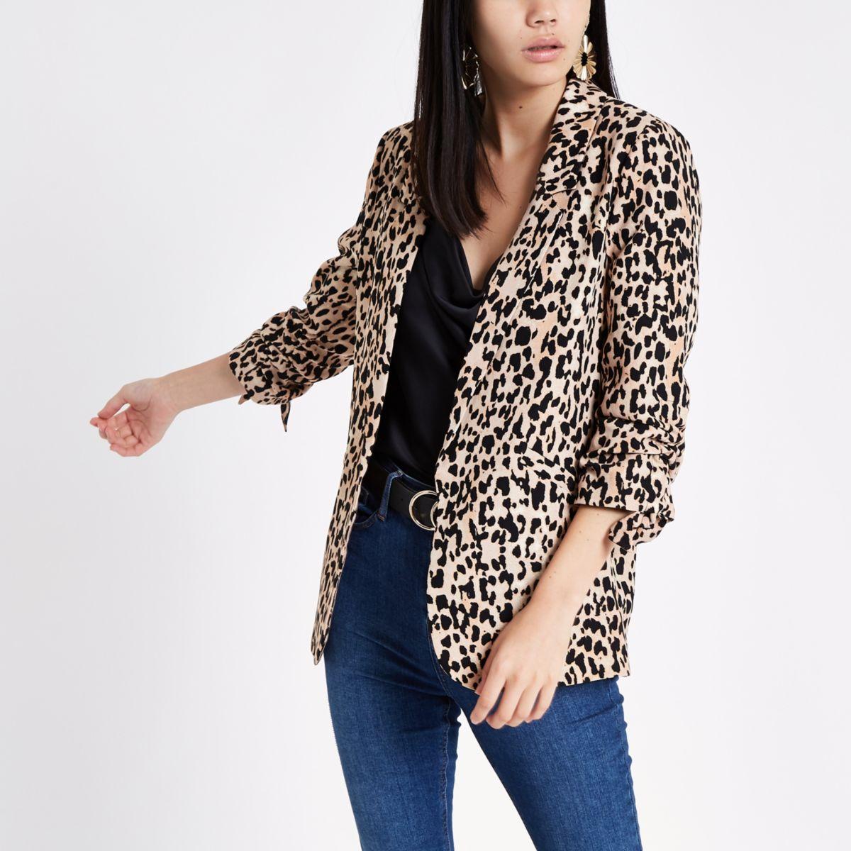 Brown leopard print ruched sleeve blazer