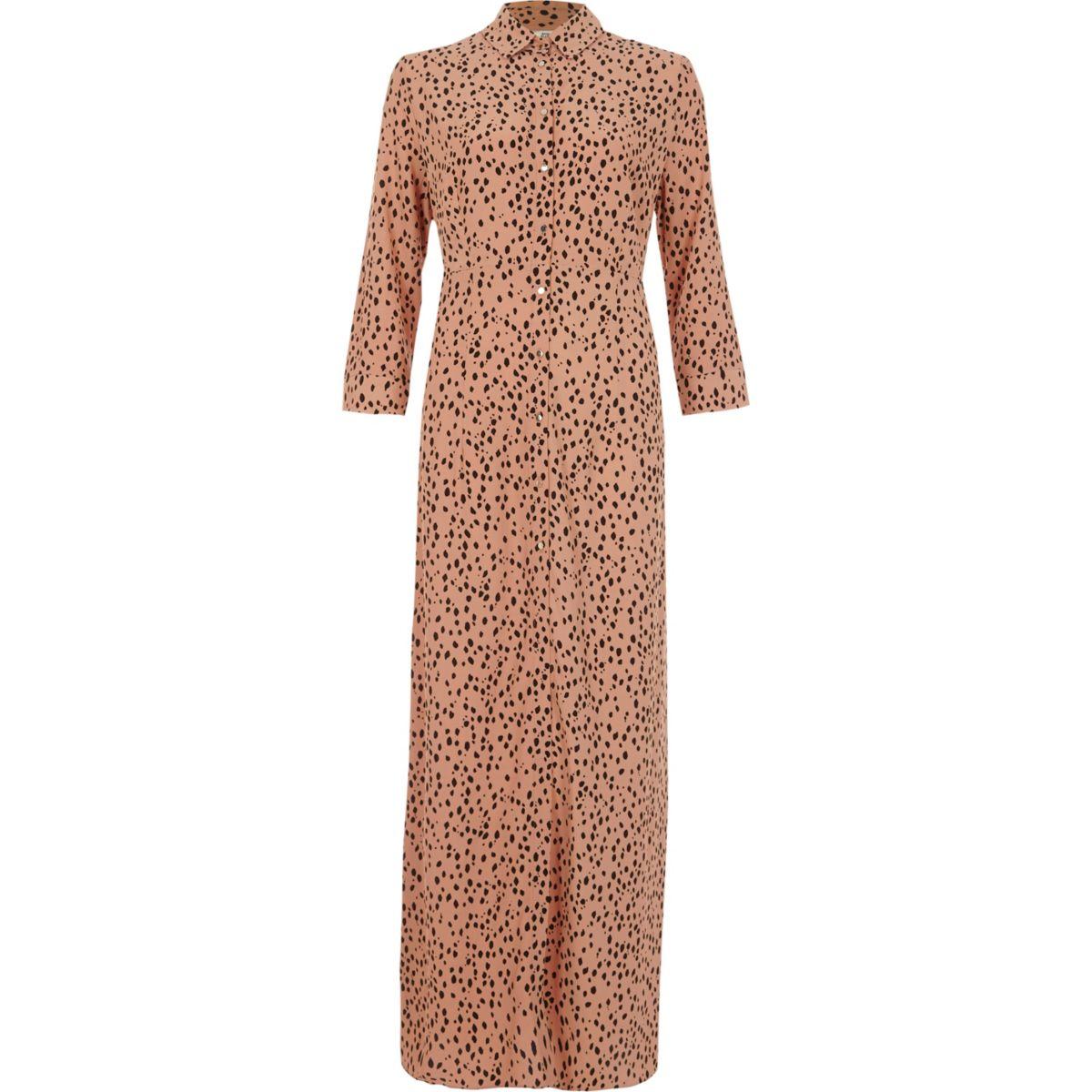 dress print brown maxi shirt Petite OgI8qw